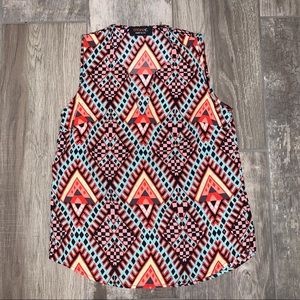 RENEE C. Aztec Southwest V Neck Sleeveless Blouse